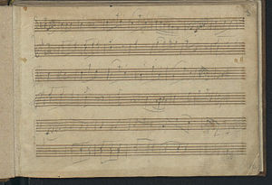 """London Sketchbook (Mozart) - First page of music from Mozart's """"Londoner Skizzenbuch"""" 1764"""