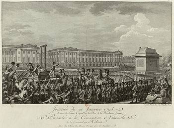 Execution of Louis XVI in what is now the Place de la Concorde, facing the empty pedestal where the statue of his grandfather, Louis XV, had stood.