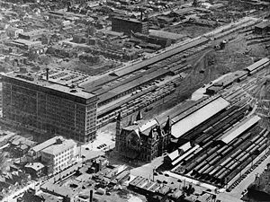 Union Station (Louisville) - Aerial view of the Louisville passenger and freight terminals showing Union Station in the first half of the 20th century.