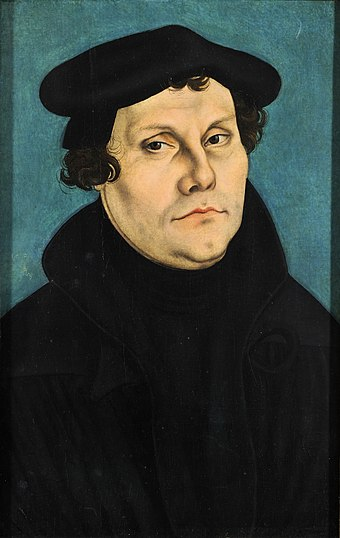 Martin Luther (1483–1546) initiated the Protestant Reformation. Lucas Cranach d.Ä. - Martin Luther, 1528 (Veste Coburg).jpg