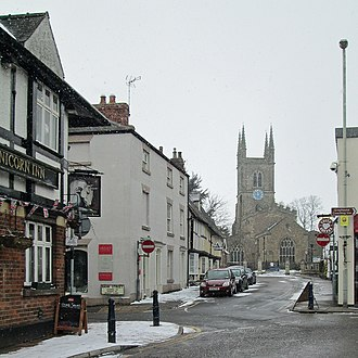 Lutterworth - Image: Lutterworth, a snow shower in March, geograph 3371058 by John Sutton