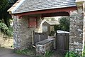 Lych gate, St David's church, showing detail of coffin stone - geograph.org.uk - 1263278.jpg