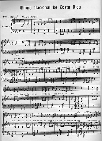 Himno Nacional De Costa Rica Wikipedia La Enciclopedia Libre