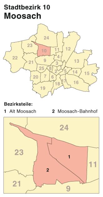 Moosach (Munich) - Image: München Stadtbezirk 10 (Karte) Moosach