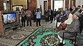 M. Hamid Ansari and Smt. Salma Ansari watching video at Sultan Omar Ali Saifuddien Mosque, in Brunei on February 02, 2016. The Minister of State for Home Affairs, Shri Haribhai Parthibhai Chaudhary is also seen.jpg