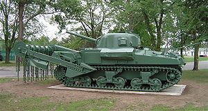 Hobart's Funnies - Sherman Crab mine-clearing tank displayed at the CFB Borden Military Museum, Ontario, Canada.