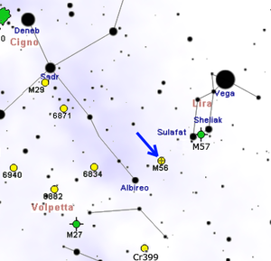 Messier 56 - Map showing location of M56 (Roberto Mura)