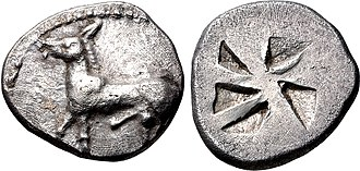 Mende (Chalcidice) - Coinage of Mende. Ithyphallic ass on the obverse. Circa 510-480 BC.