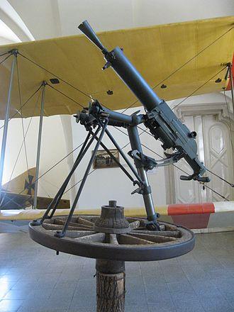 Schwarzlose machine gun - MG M.07/12 mounted on a wheel in a World War I-era anti-aircraft configuration.