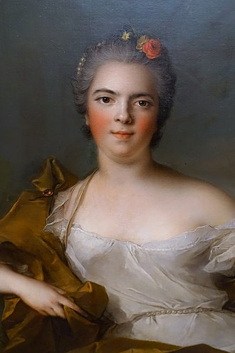 Louise Élisabeth of France - Close up of portrait by Jean-Marc Nattier portraying Louise Élisabeth as the earth