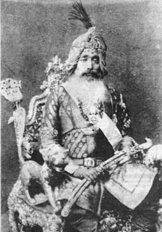 Jind State - Maharaja Raghbir Singh, photographed in 1875, ruled Jind until his death in 1887