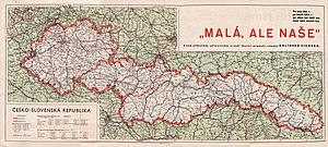 """Second Czechoslovak Republic - """"Small, but our own"""" - contemporary map of the Second Republic"""