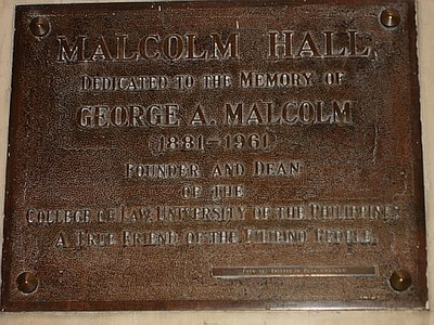 Plaque Commemorating George Malcolm at the U.P. College of Law MalcolmPlaque.JPG