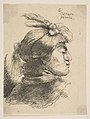 Man Wearing a Small Turban Ornamented with Plumes and Ribbon, Facing Right, from Studies of Small Heads in Oriental Headdress MET DP816639.jpg