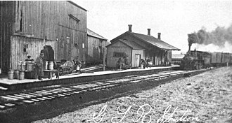 Port Whitby and Port Perry Railway - A train from Whitby pulls into Manchester Station, about one mile south of the town of Manchester.