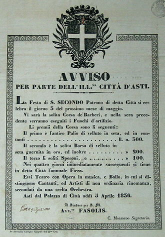 Palio di Asti - Notice by the Comune of Asti relating to the Palio of 1836.