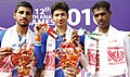 Manjeet Singh (INDIA) Silver, Arvind Panwar (INDIA) Gold and Janaka Hemantha Kumara Gonagalage (SRI LANKA) Bronze in 40km Individual Time Trial - Men's Elite (ME) of cycling, at 12th South Asian Games-2016 along NH 37.jpg