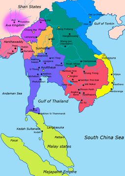 Mainland Southeast Asia in the early 15th century Teal: Lan Xang Purple: Lan Na Orange: Sukhothai Kingdom Blue Violet: Ayutthaya Kingdom Red: Khmer Empire Yellow: Champa Blue: Dai Viet Map-of-southeast-asia 1400 CE.png