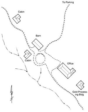 Kentucky Camp, Arizona - The layout of Kentucky Camp's remaining buildings.