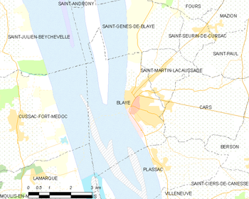 Map of the commune of Blaye