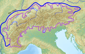 Würm glaciation - Violet: Extent of the Alpine ice sheet in the Würm glaciation. Blue: Extent in earlier ice ages