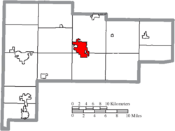 Location of Wapakoneta in Auglaize County