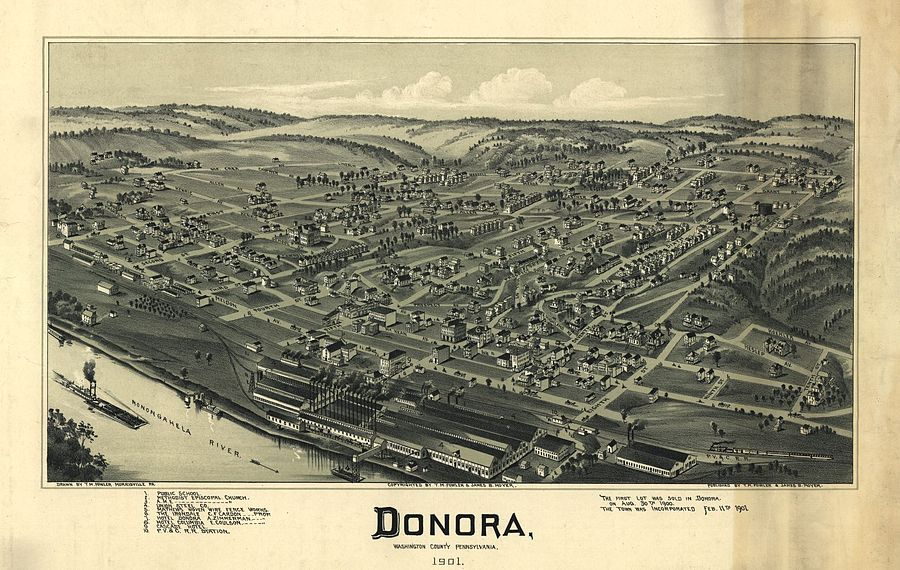 A pictorial map of Donora from 1901 Map of Donora PA 1901.jpg