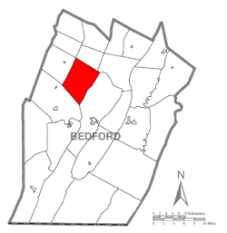 Map of Bedford County, Pennsylvania highlighting East St. Clair Township