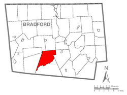 Map of Bradford County with Franklin Township highlighted