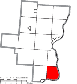 Location of Ohio Township in Gallia County