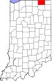 Map of Indiana highlighting LaGrange County.svg