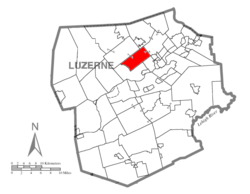 Map of Luzerne County, Pennsylvania Highlighting Jackson Township
