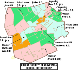 Hughestown, Pennsylvania - A map of Luzerne County school districts. Hughestown is part of Pittston Area School District (seen in green).