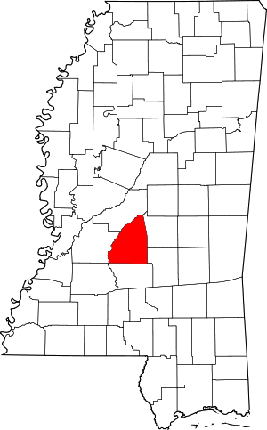 Map of Mississippi highlighting Rankin County