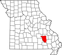 Map of Missouri highlighting Reynolds County