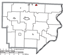 Location of Beallsville in Monroe County