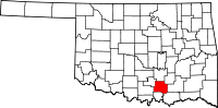 Map of Oklahoma highlighting Johnston County.svg