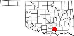 Harta e Johnston County në Oklahoma