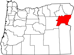 map of Oregon highlighting Baker County