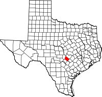 Map of Texas highlighting Hays County