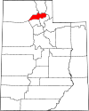 State map highlighting Weber County