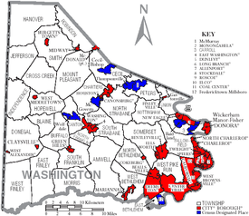map of washington county pennsylvania with munil labels showing cities and boroughs red townships white and census designated places blue