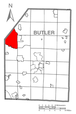 Map of Butler County, Pennsylvania highlighting Worth Township