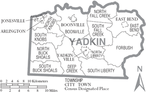 Yadkin County, North Carolina - Map of Yadkin County, North Carolina With Municipal and Township Labels
