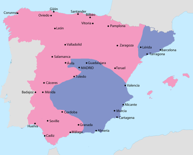 Map showing Spain in July 1938: