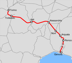 Turin–Genoa railway - Map