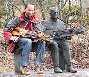 Marco Ambrosini - Marco Ambrosini playing his nyckelharpa at the monument of the great Swedish Nyckelharpa player Eric Sahlström (March 2008)