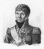 Print depicts a clean-shaven man in a military uniform with epaulettes and covered with gold lace.