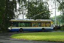 Trolleybus in Mariánské Lázně, on a terminus near the natural spring called Antoníčkův pramen