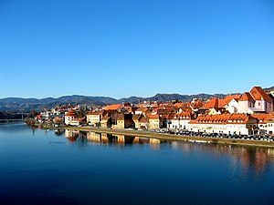 The Drava river at Maribor, Slovenia